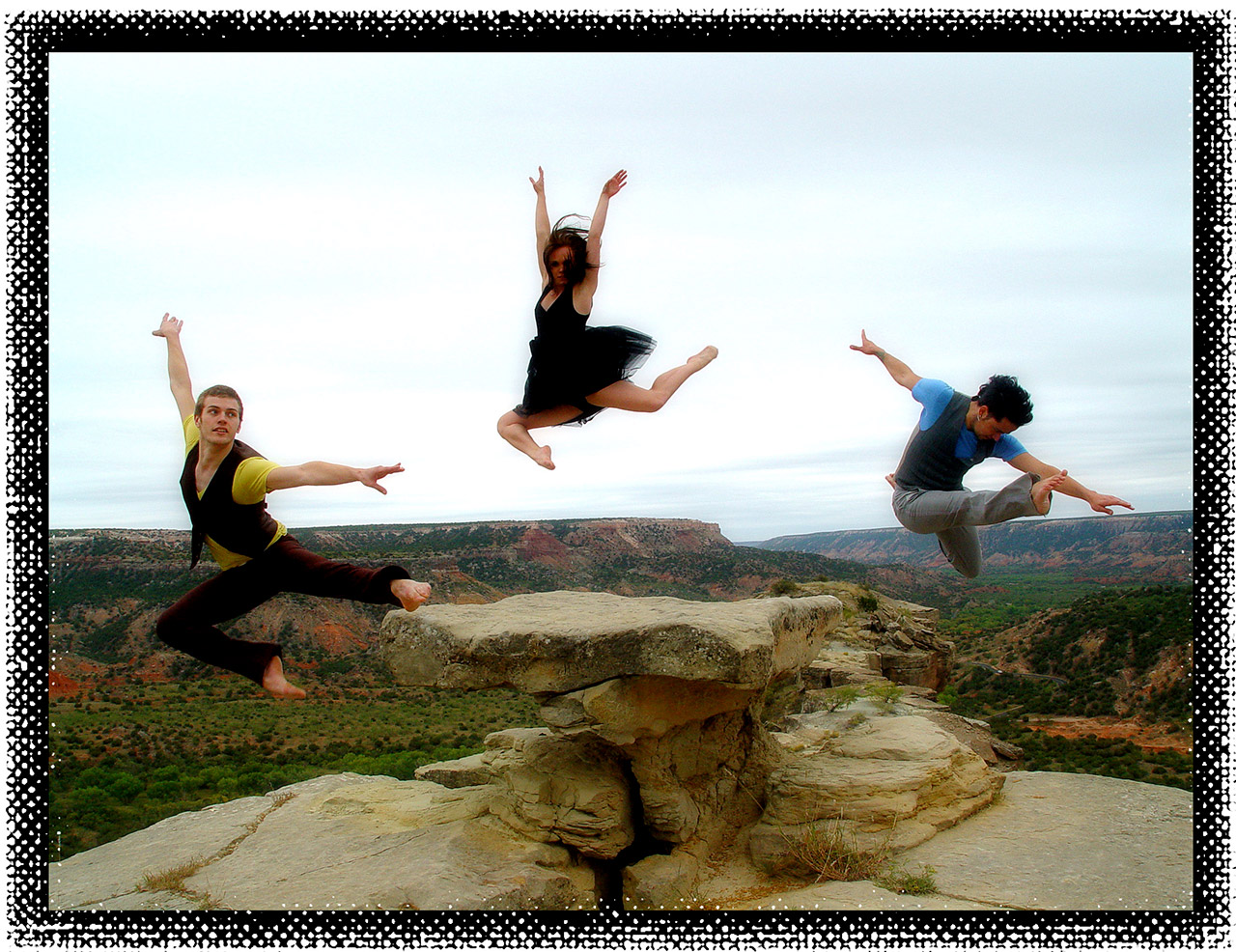 Three dancers in Palo Duro Canyon jumping off rock