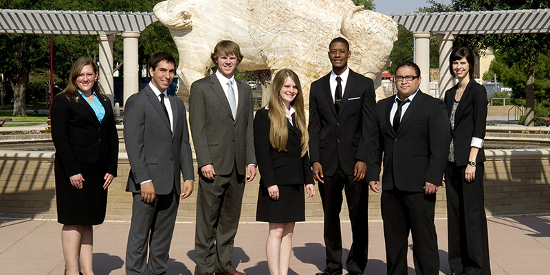 group of students in business attire