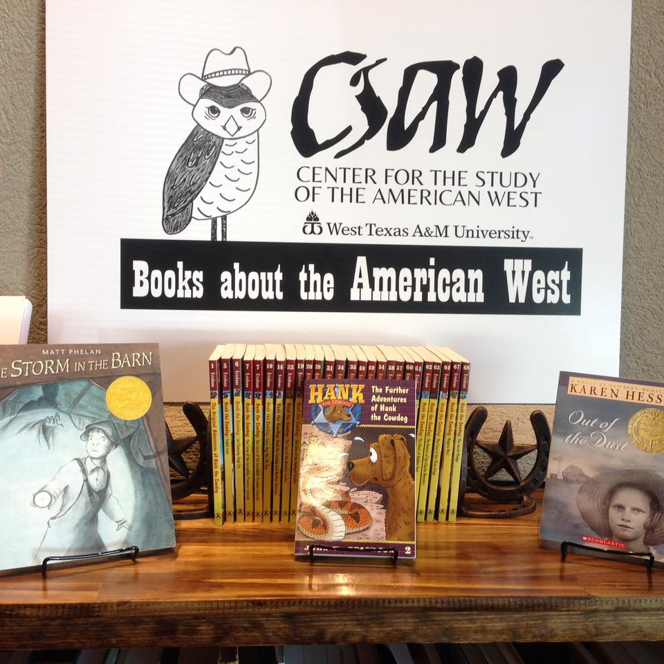 The featured CSAW book display at Burrowing Owl Books in Canyon, TX.