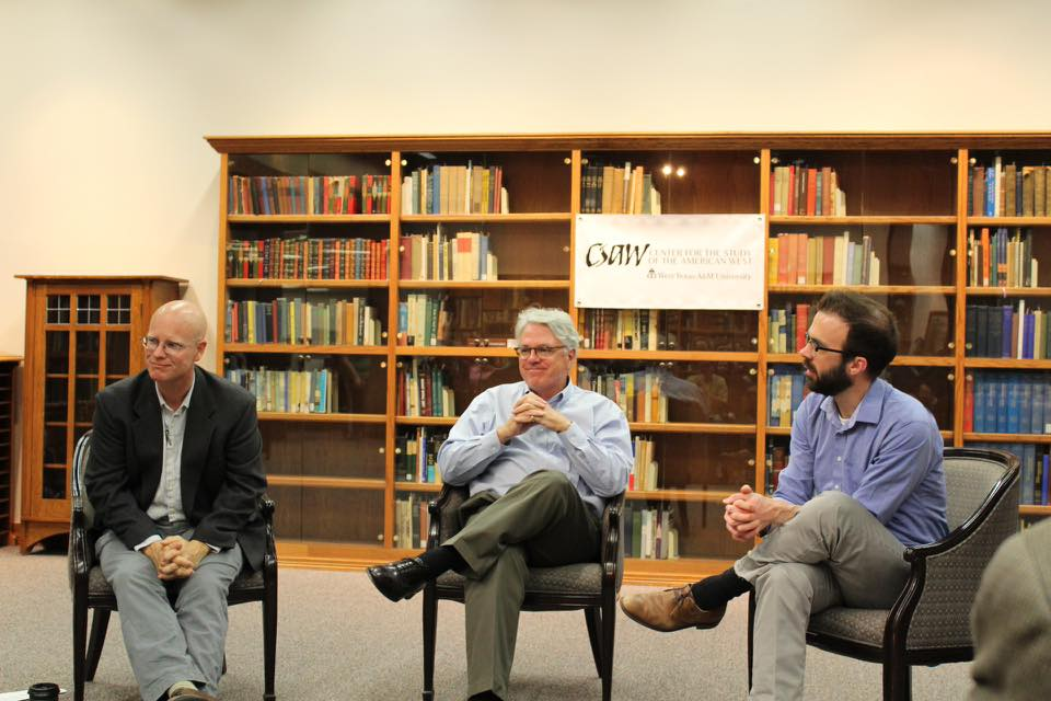 Dr. Alex Hunt (left) and Dr. Tim Bowman (right) leading a Q&A session with author S. C. Gwynne (center)