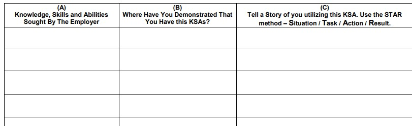 KSA worksheet