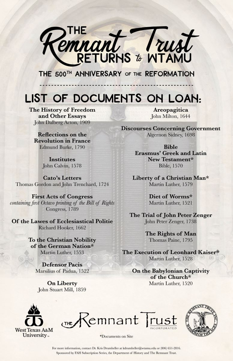 The Remnant Trust Documents on Loan at WTAMU