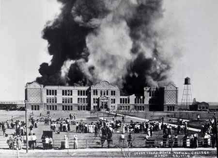 Old Main Burning