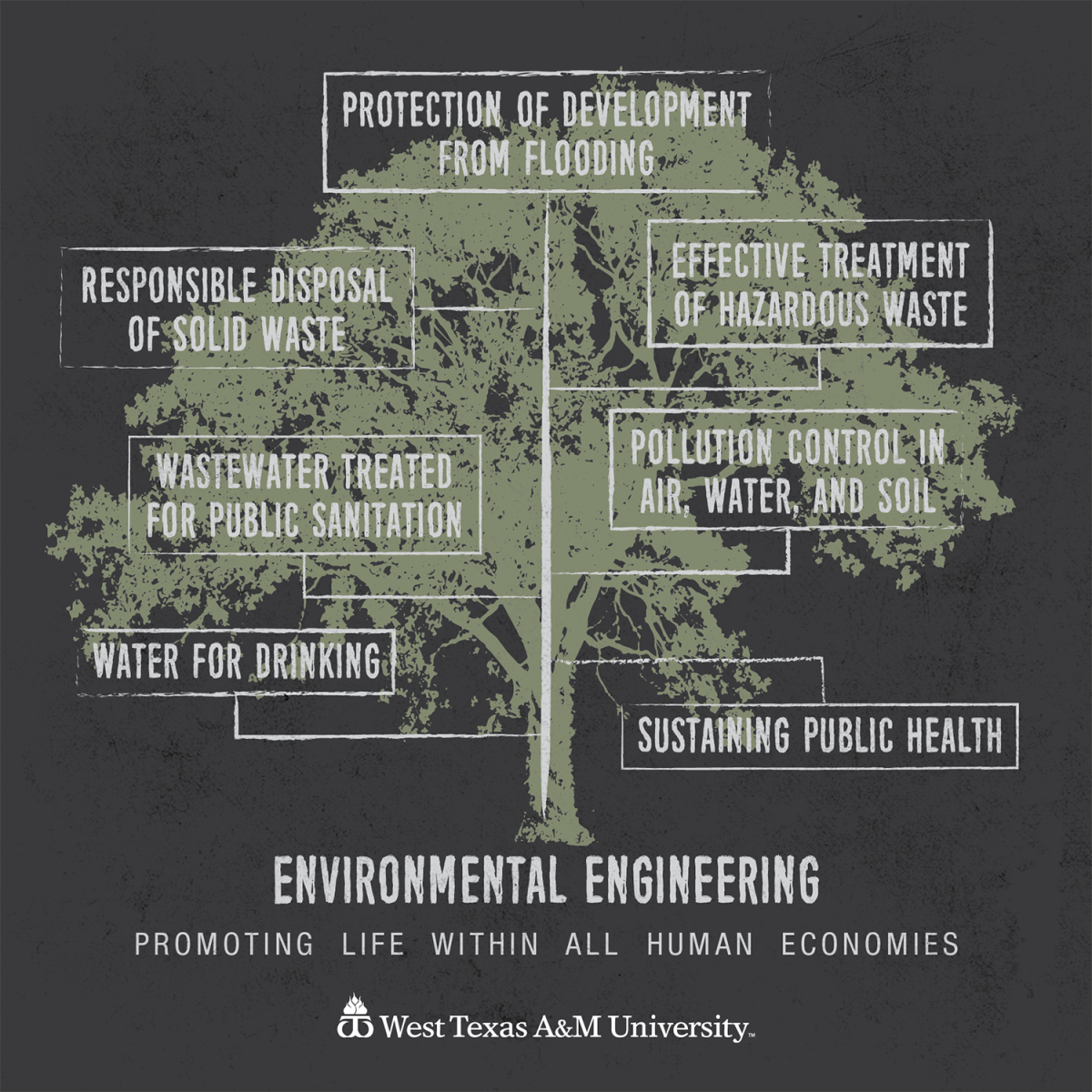 Tree graphic showing major applications of environmental engineering