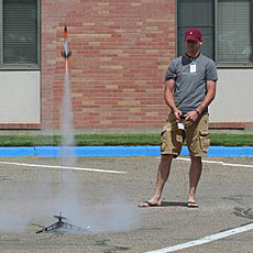 Student's rocket blasts off