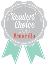 The city's top performers for children and families. Readers' Choice 2015 Amarillo Magazine ribbon logo.
