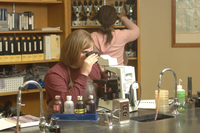 Student working in a lab with a microscope.