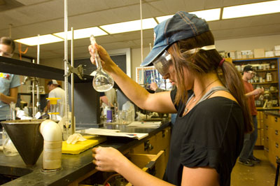 One researcher conducting lab experiment
