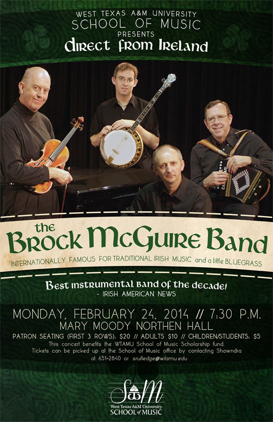 Poster for Brock Mcguire Band concert on Feb. 24 at WTAMU