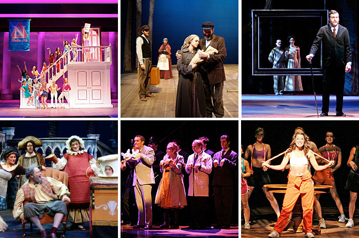 A collection of photos from the musical theatre department depicting various performances