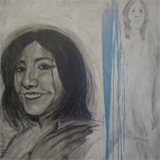 Student's mixed-media drawing of a woman's face.