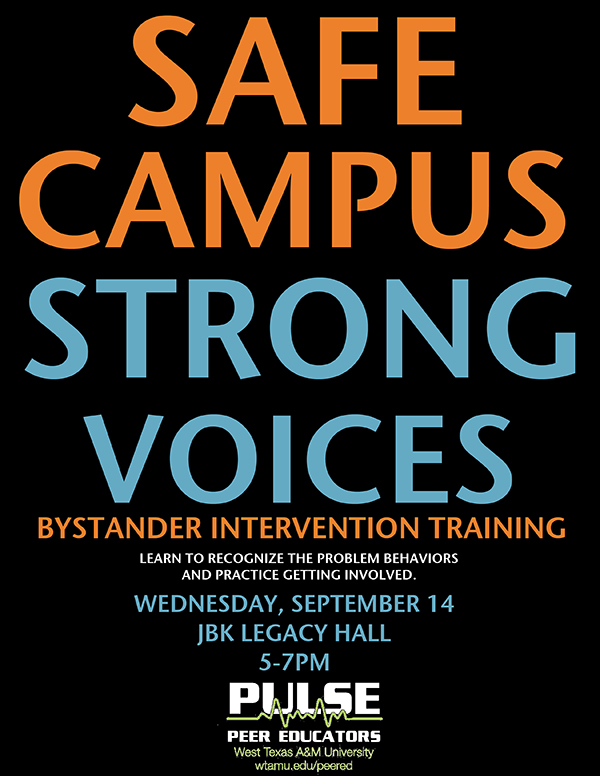 Safe Campus, Strong Voices, Bystander Intervention Training Flyer