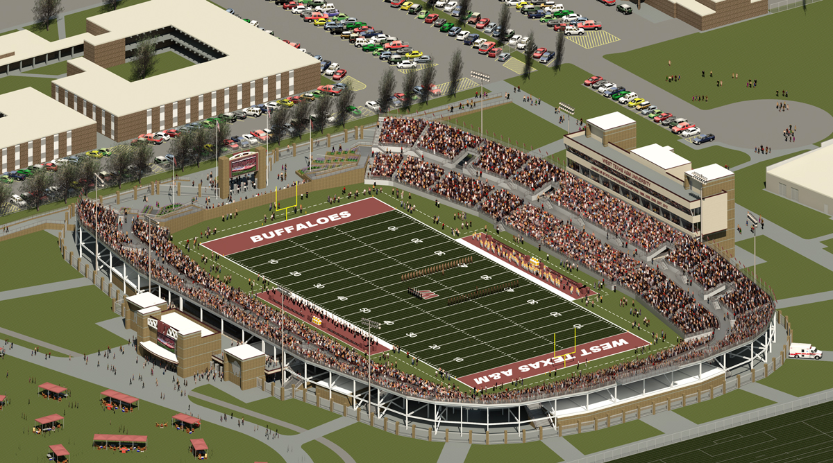 Rendering of an aerial view of the new stadium from the southwest