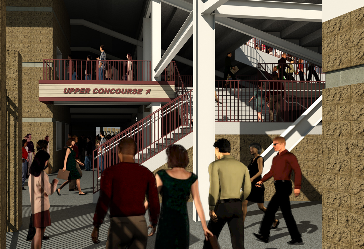 A rendering view of inside the concourse underneath the stands