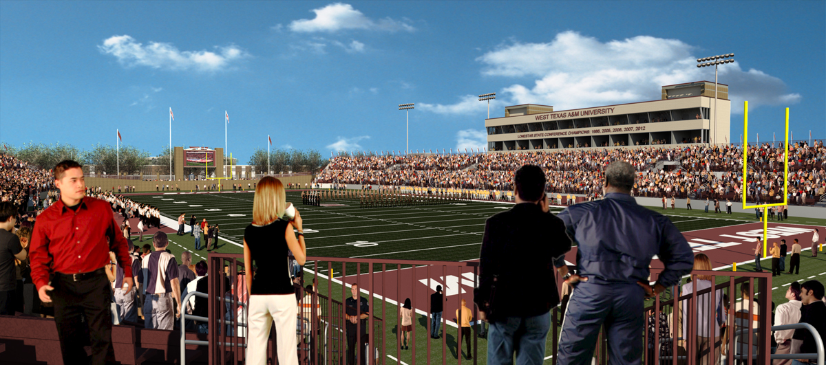 A rendering view from the Northeast corner of the endsone looking over the field