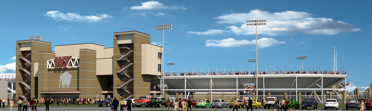A rendering of the West entrance into the new proposed stadium.