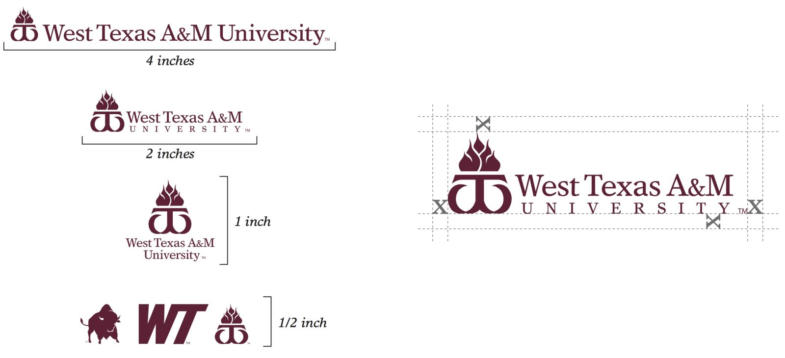 Minimum size applications for University logos are 4-inch width for the horizontal logo, 2-inch width for the stacked logo and 1-inch height for the vertical logo.