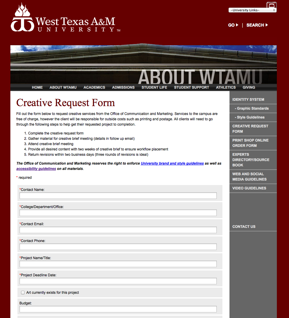University Departments and Colleges: wtamu.edu/CreativeRequest