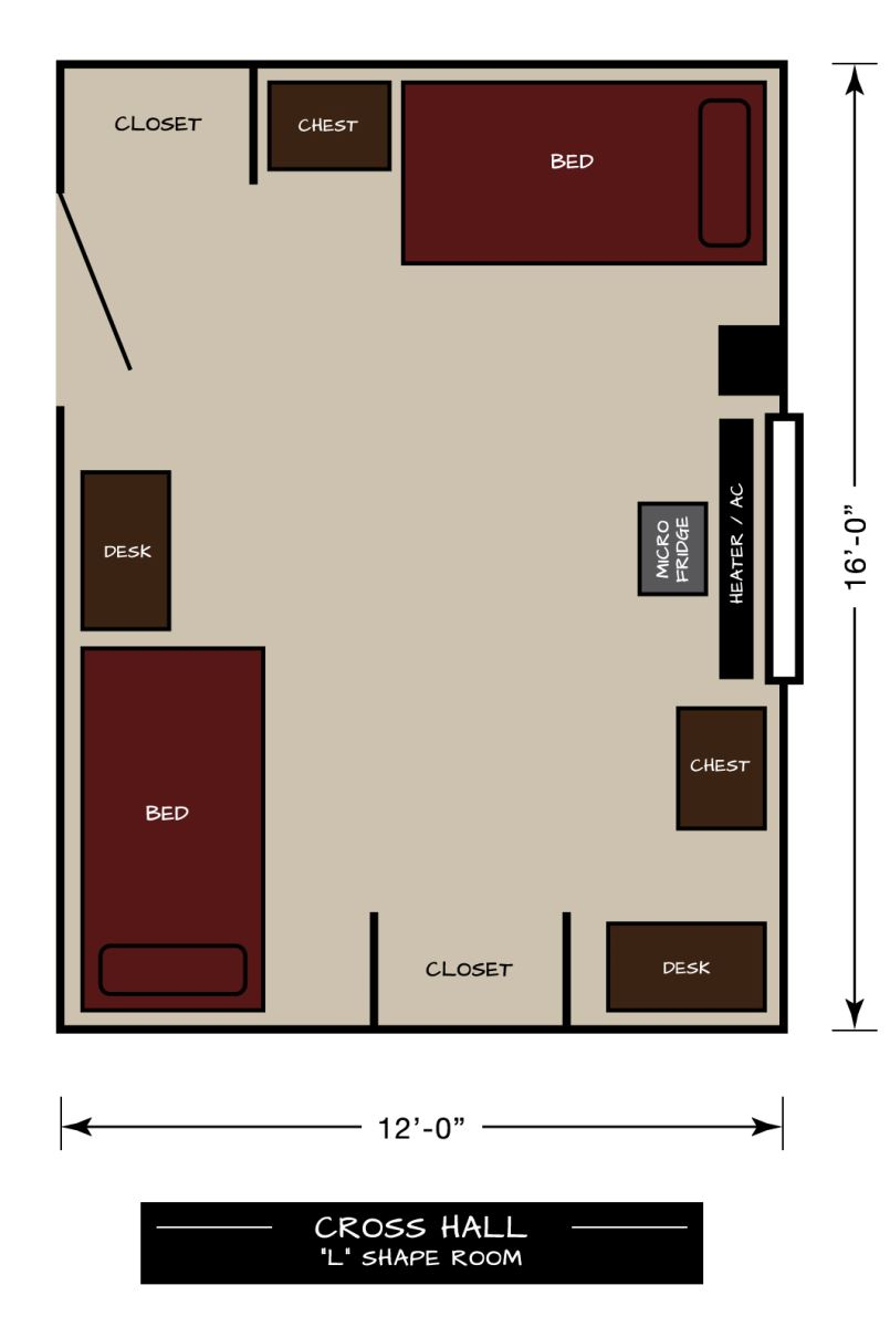 "Cross Hall Floor Plan - ""L"" Shaped Room"