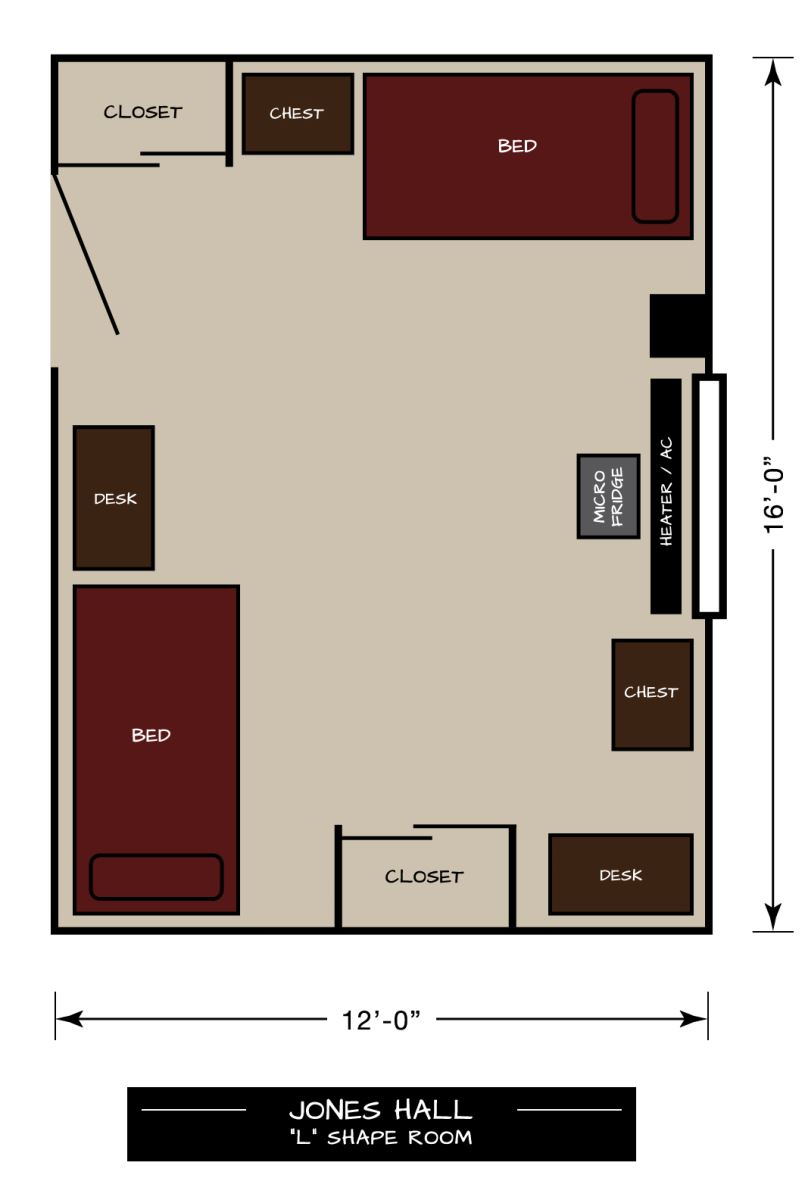 Jones Hall Floor Plan - L-Shape