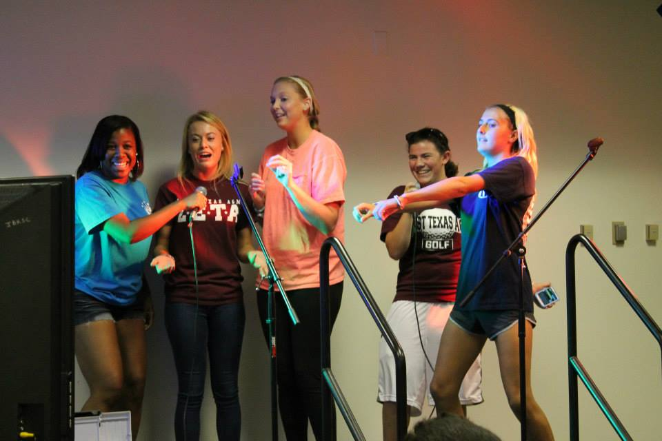 Singing at Karaoke Night