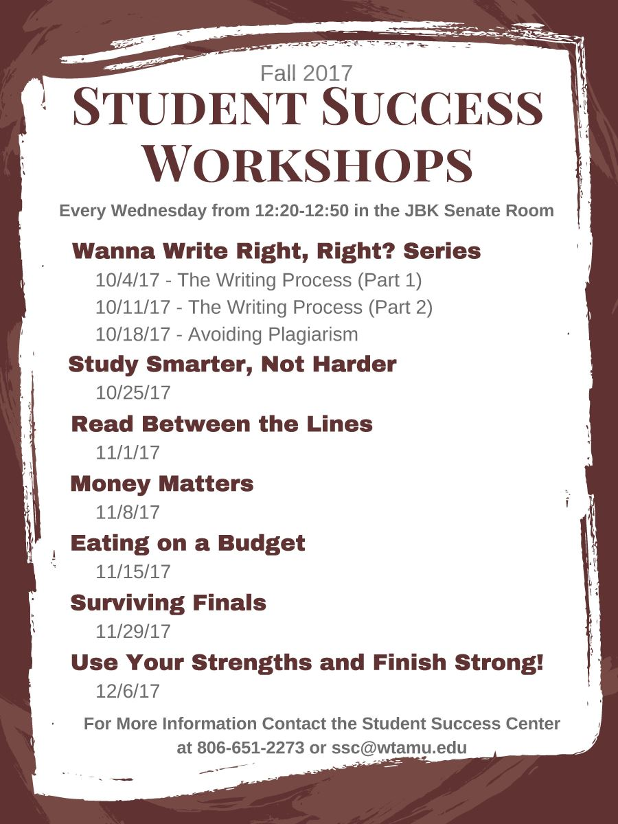 Fall 2017 Student Success Workshops