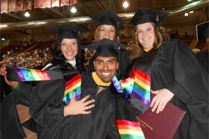 Buff Allies summer graduates with rainbow stoles