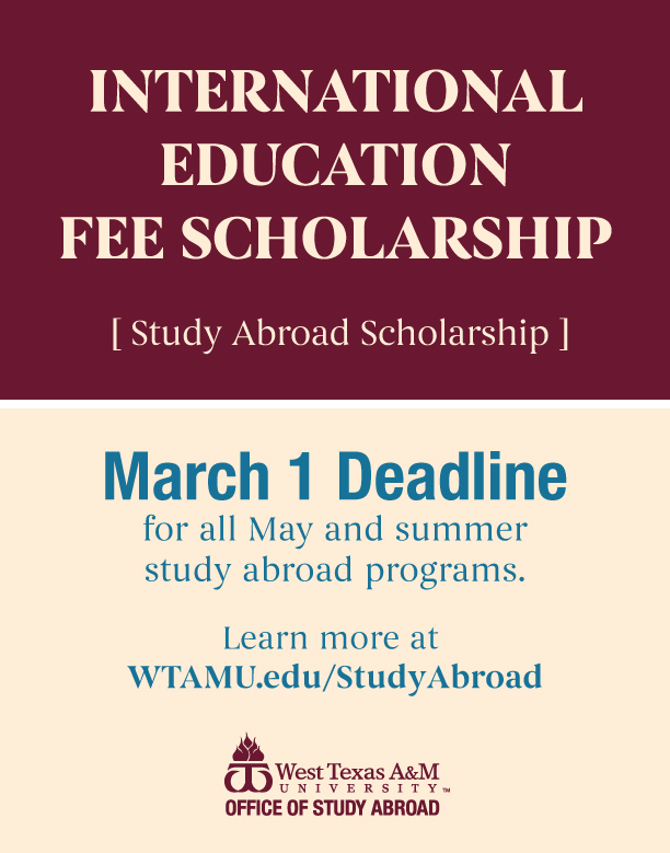 Study Abroad Scholarship Deadline March 1