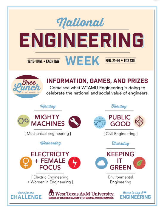 National Engineering Week / Feb. 21-24 / ECS 130