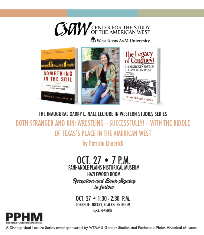 Patricia Limerick Book Signing Poster - Oct 27 7pm PPHM Hazlewood Room