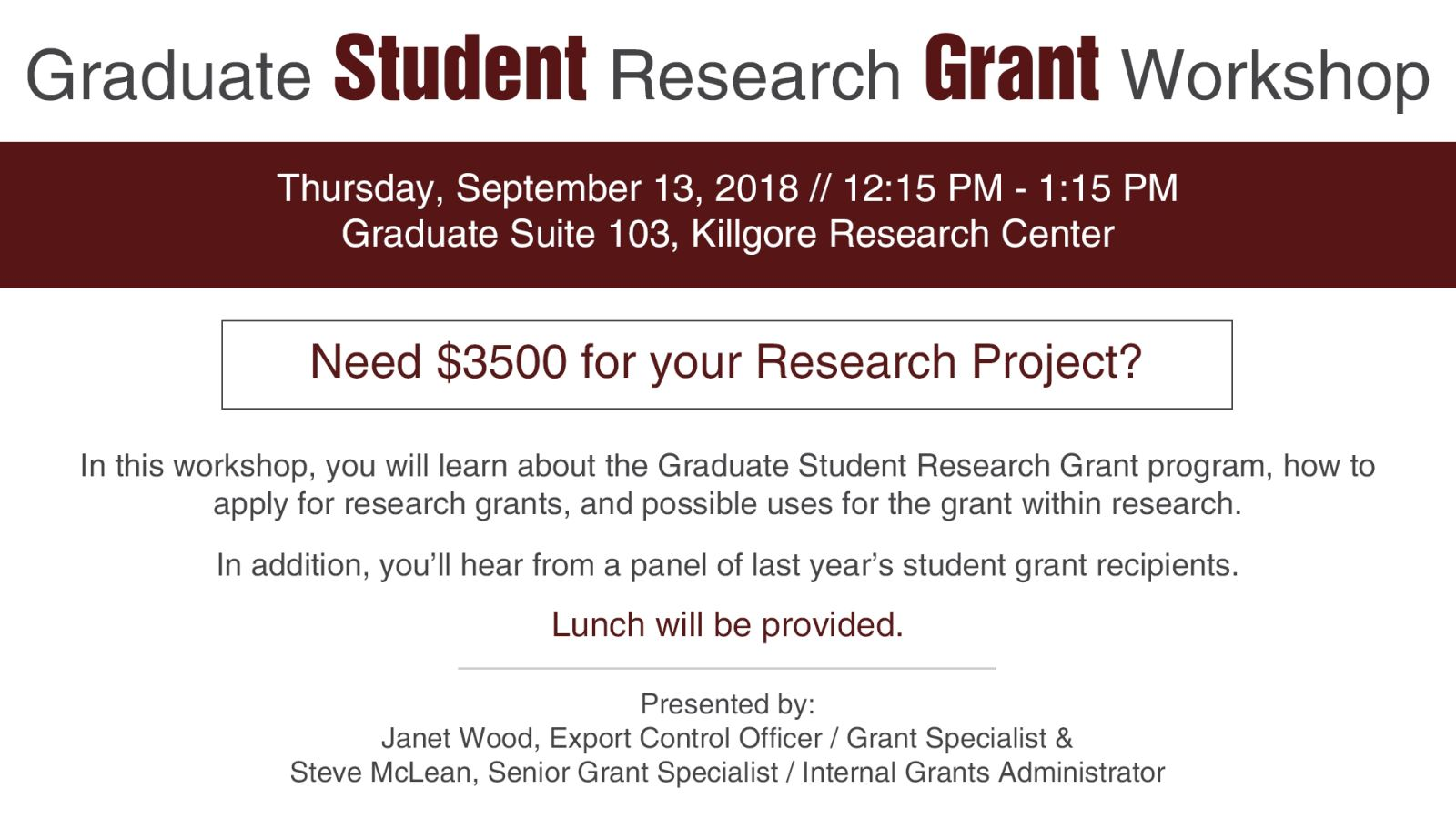 Graduate Student Research Grant Workshop