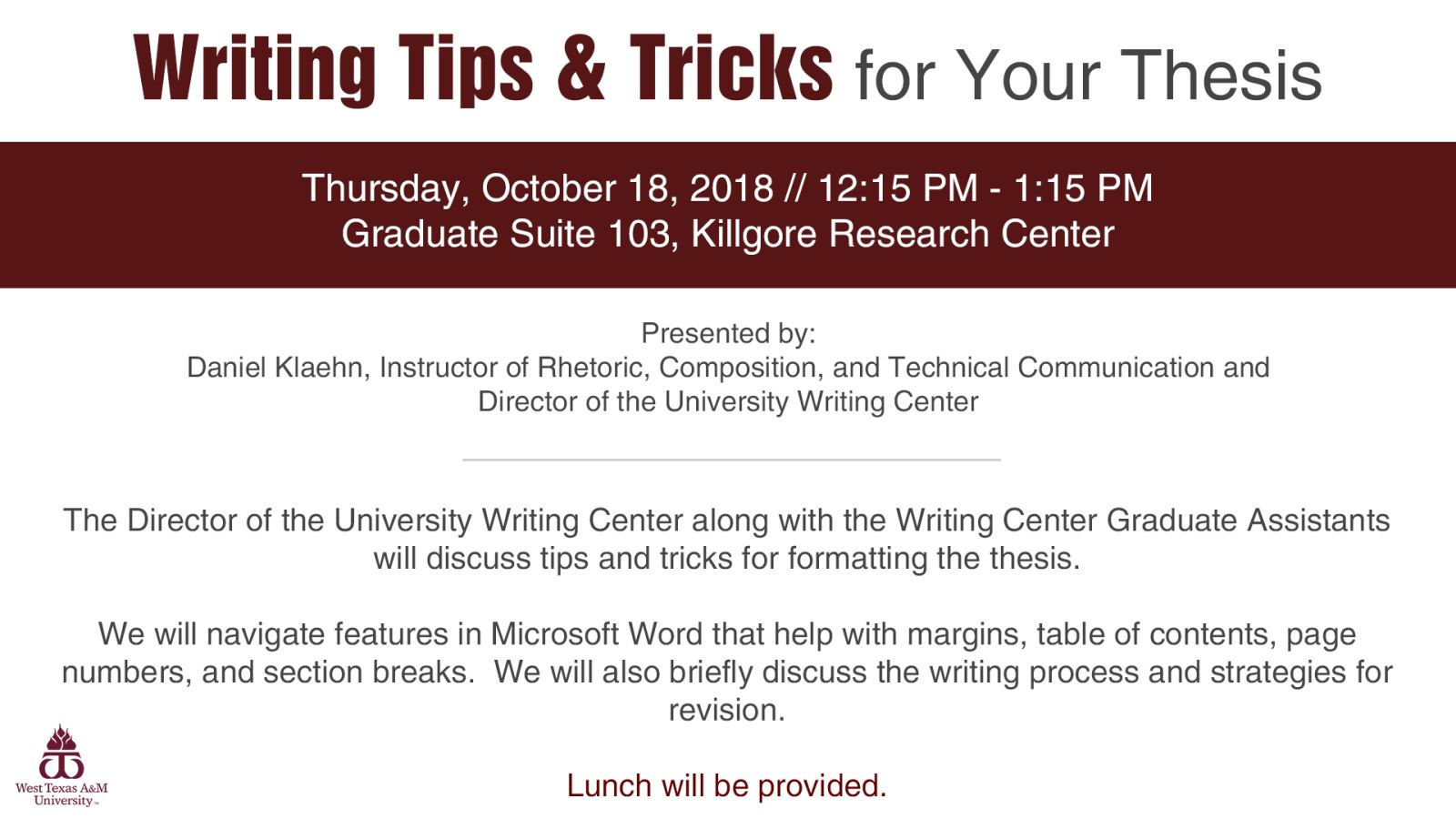 Writing Tips & Tricks for Your Thesis