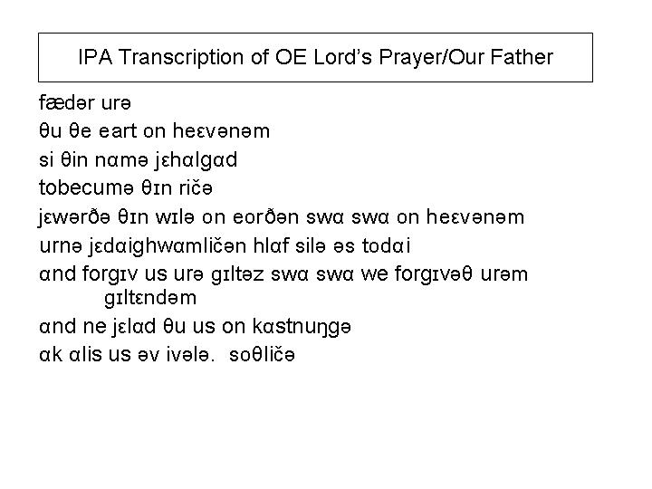 Ipa Transcription Of The Lords Prayerour Father