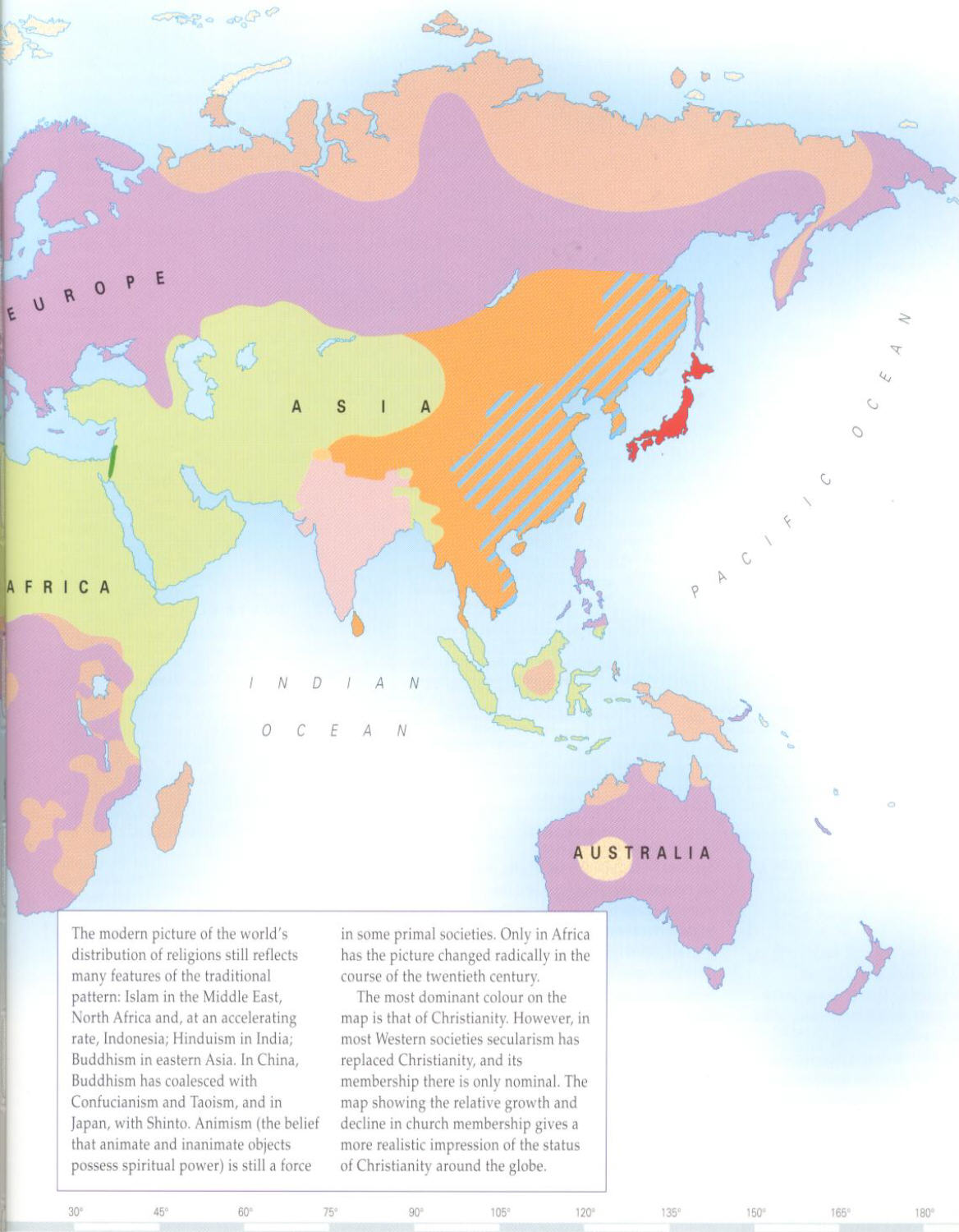 Geographic Distribution Of World Religions - Asia religion map